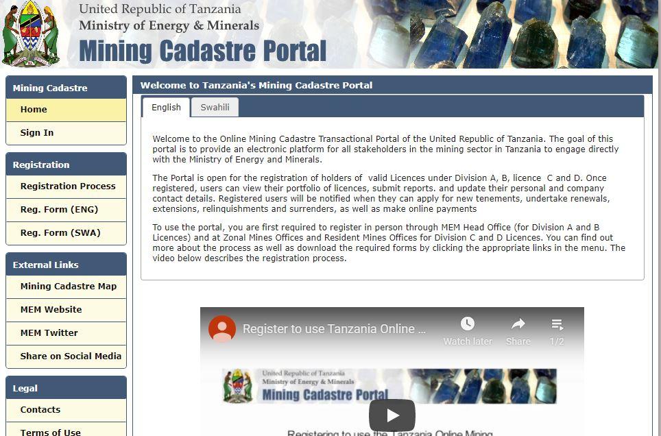 Tanzania Mining Cadastre Portal