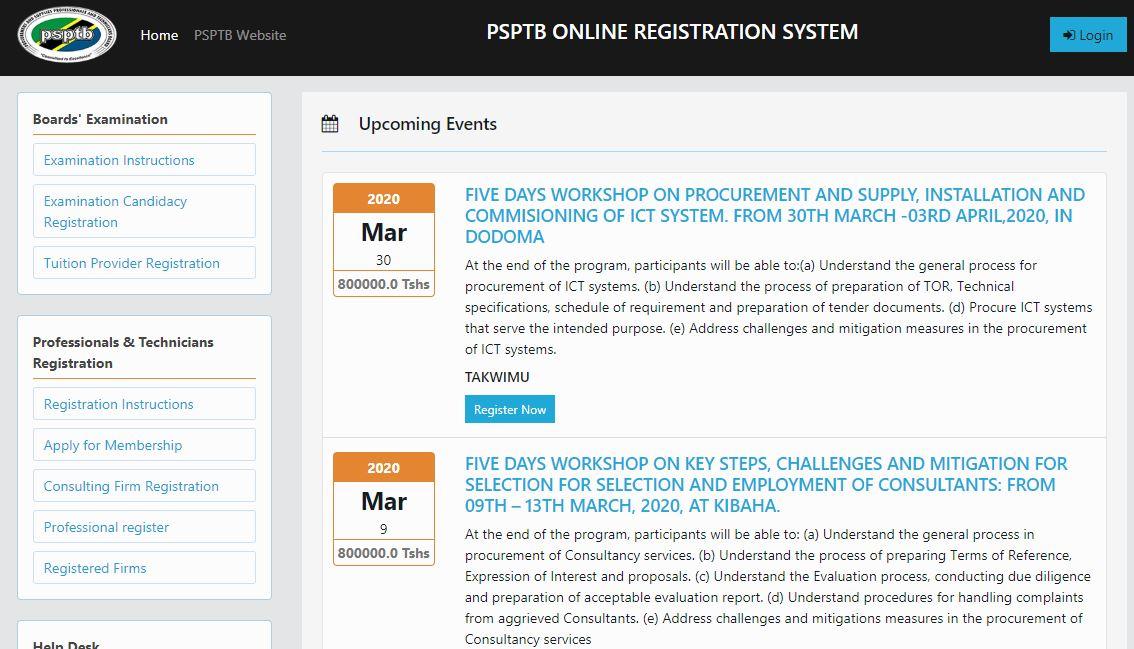 PSPTB online Registration System (ORS)