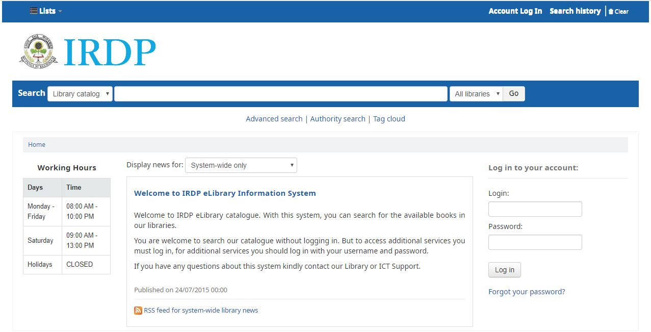 IRDP e-Library Information System